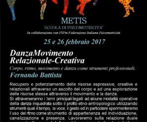25 e 26 febbraio 2017 a Roma –Laboratorio di DanzaMovimento Relazionale-Creativa