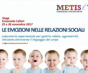 25 E 26 NOVEMBRE 2017 A ROMA – LE EMOZIONI NELLE RELAZIONI SOCIALI